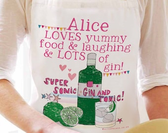 Personalised gin apron. Gin Gift. Friendship Apron. Gin & Tonic Gift. Christmas Gift. Friend Gift. Gin apron. Gift for Gin Lover. Gin Fan