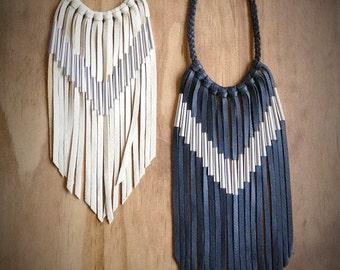 Chevron Leather Fringe Necklace