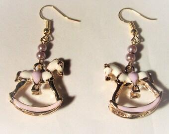 Lavender Rocking Horse Earrings