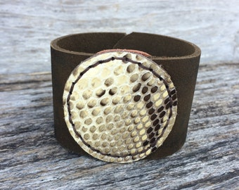 Leather Cuff Bracelet with Snakeskin Medallion Size Large on Camouflage Leather by Stacy Leigh
