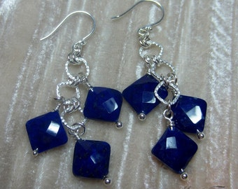 Diamond shape faceted Lapis Lazuli earrings