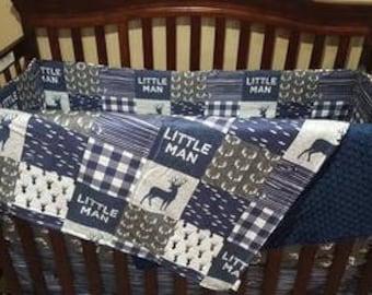 Baby Boy Crib Bedding - Little Man Deer, Gray Antlers, Navy Wood Grain, and Navy Minky Crib Baby Bedding Ensemble