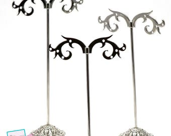 Set of 3 racks for earring, silver
