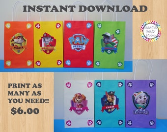 Paw Patrol Party FAVOR BAGS/ Birthday Party Favors/ Supplies/ Goody/ Goodie/ Candy/ Treat/ Loot/ Gift/ Bags/ Fiesta/ Printable Decoration
