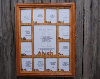 11x14 K-12th Grade School Years Picture Frame Oak Frame, School Days K thru 12 Grade Picture Frame, Name Picture Frame