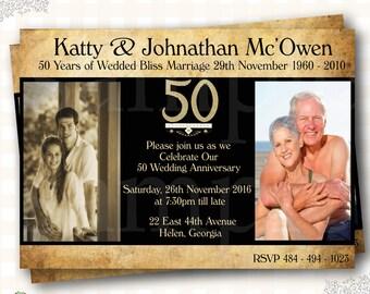 Th wedding anniversary invitations etsy