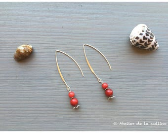 Earrings long hooks and coral