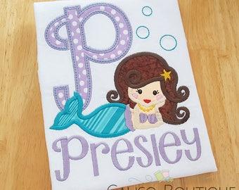 Mermaid Initial Applique Shirt - Girls Personalized Shirt - Mermaid Shirt - Mermaid Birthday - Girls Name Shirt - Embroidery Shirt for Girls