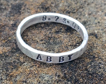 1 Hand Forged and Stamped Stacking Sterling Silver Ring with Inside and Outside Custom Message