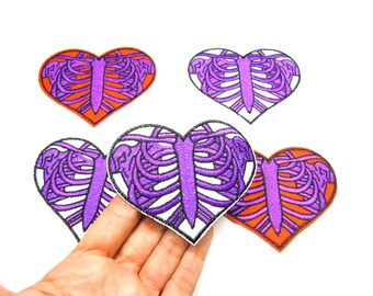 Skeleton heart iron patch - X-Ray sew on patch - Rib cage iron patch - Cool Goth skeleton applique - Ribcage heart sew on patch