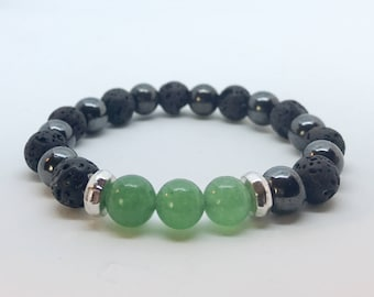 Aromatherapy Diffuser Bracelet  with Essential Oil Diffusing Lava, Magnetic Hematite and Jade gift for her, gift for girl, gift for mom,