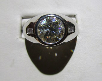 Mens moissanite sterling fine ring with baguettes on the sides