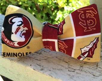 Florida State University Seminoles Cotton Fabric Freestyle Bow Tie