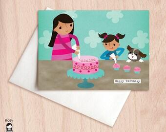 Happy Birthday Cupcakes - Sisters, Daughter, Mom, Dog - Decorating Cakes - Birthday Greeting Card