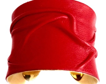 Molded Red Leather Cuff Bracelet - by UNEARTHED
