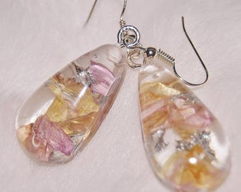 Teardrop shaped pink and peach poured resing dangle earrings with bits of silver leaf