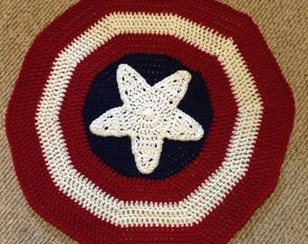 Captain America Inspired Blanket / Super Hero / Crochet Captain America Blanket