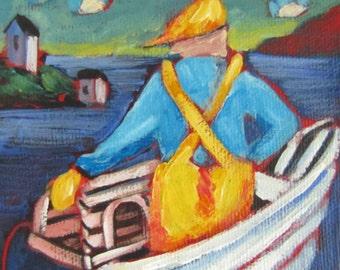 Original Newfoundland art // Nautical art // fishing boat // lobster trap // Nautical decor // Maritime art