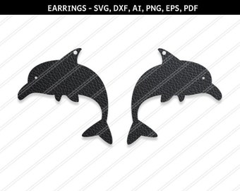 Dolphin earrings svg,Fish  svg,Jewelry svg,leather jewelry,Cricut silhouette,Earrings vector,Shoes earring,Dolphin svg,dxf,ai,eps,png,pdf
