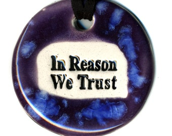 In Reason We Trust Ceramic Necklace in Purple and Blue