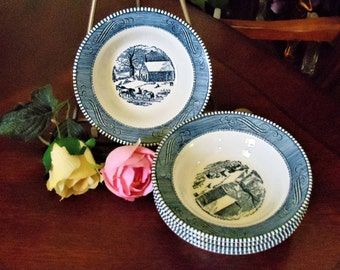 Vintage Blue & White Royal China Soup/Salad Bowls Set of 4, Country Scene Old Farm House View Ironstone Made in USA Soup/Salad/Cereal Bowls