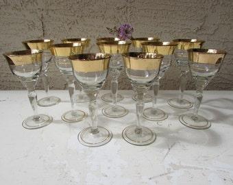 12 Piece Avitra Crystal Set - Golden Pattern - Gold Banded Stemware - Wine Glasses - Cordial Glasses - Stemware - Mid Century Stemware