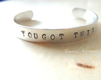 You Got This, Hand Stamped Cuff Bracelet, Inspirational jewelry, Words of Encouragement, Holiday gift, Autism Awareness bracelet, unisex
