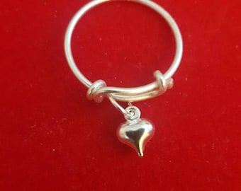 Silver Heart Adjustable Charm Ring
