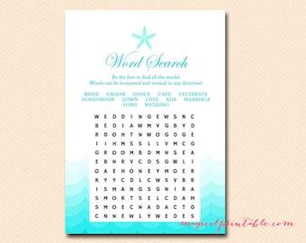 word search, bridal word search, Nautical, Sea, Starfish, Beach Bridal Shower Games, Bachelorette, Wedding Shower BS28