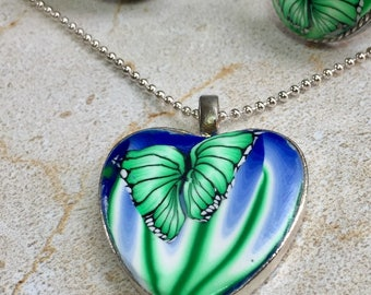 Mint Butterfly Pendant Necklace
