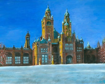 Frosty Kelvingrove. A painting of the Kelvingrove Art Gallery and Museum in Glasgow on a crisp and frosty day