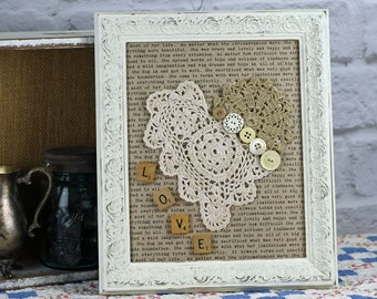 Assemblage Wall Hanging - Crochet Heart -Ready to ship