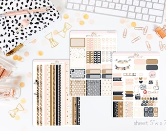 Macchiato HORIZONTAL Weekly Kit // 130+ Matte Planner Stickers // Perfect for your Erin Condren Life Planner // WKH0050