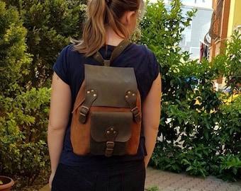 Leather Backpack, Convertible Backpack, Leather Satchel, Rucksack, Diaper Backpack, Messenger Bag, Crossbody bag, Travel Bag, Gift for Her