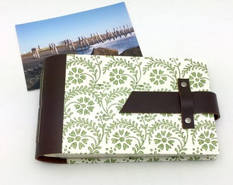 Mini Photo Album - Leather and Tuscan Print - holds 48 4x6 photos