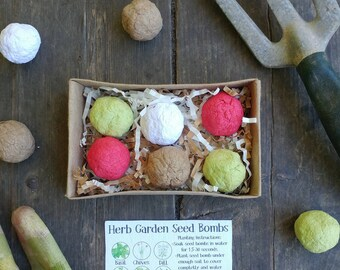 DIY Herb Garden Seed Bomb Gift Pack, gift box, dill, mint, chives, basil, thyme, parsley