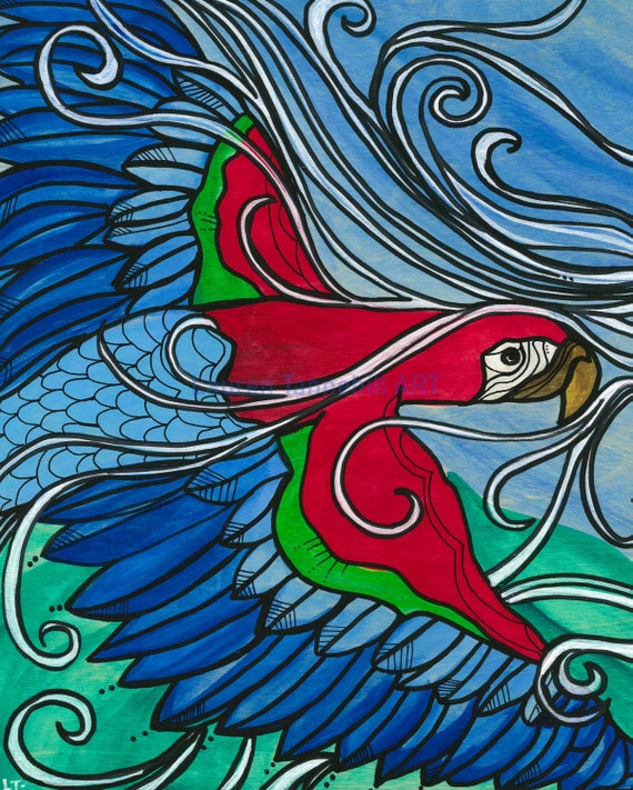 11x14 Giclee Paper Print Flying Free Macaw by Lauren Tannehill ART