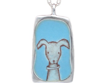 Cat and Dog Necklace - Reversible Enamel and Sterling Cat and Dog Pendant