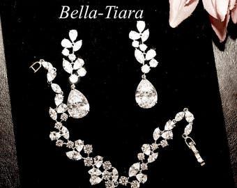 bridal drop earrings, crystal drop earrings, wedding earrings, bridal cz vine earrings, cz wedding earrings, crystal bridal earrings