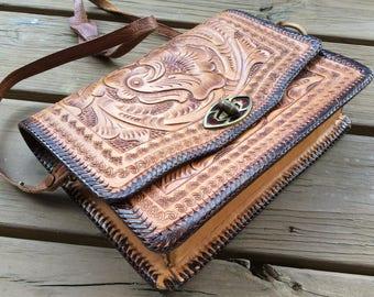 50s 60s tooled leather vintage purse crossbody shoulder bag