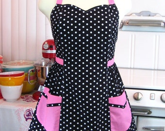 Retro Apron Plus Size Sweetheart Neckline Black and White Polka Dot with Pink BETTY