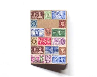 Upcycled Vintage British Multi Size Postage Stamp A6 Pocket Notebook Sketchbook Travel Journal Blank Pages