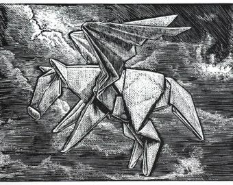 Origami Pegasus Art Print - Original Engraving
