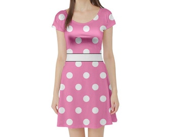 Adult Minnie Inspired Short Sleeve Skater Dress