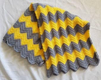 Crocheted Baby Newborn Crib Blanket Yellow Grey Gray