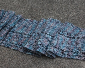 Picadilly Blue Pink Lavender Pure Merino Wool Cabled Scarf