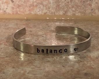 Balance - Hand Stamped Cuff Bracelet