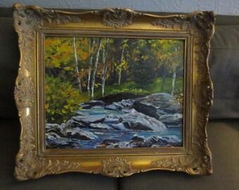 Vintage 1968 Quebec Canada Landscape , Artist W.G.Ludlow , Titled Rouge River , Beautifully Framed