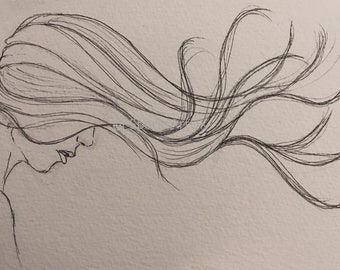 Ink line drawing hair blowing in the wind