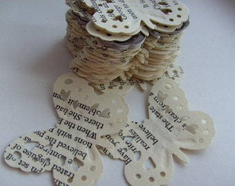 100,Paper butterflies, confetti, scrap booking, paper craft, card making, tags, English vintage book, by DoodleDee2